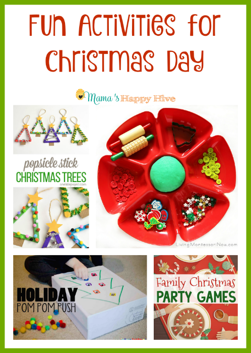 "A collection of fun activities for Christmas day for the whole family. Plus, ""A Little Bird Told Me"" Wednesday link party. - www.mamashappyhive.com"