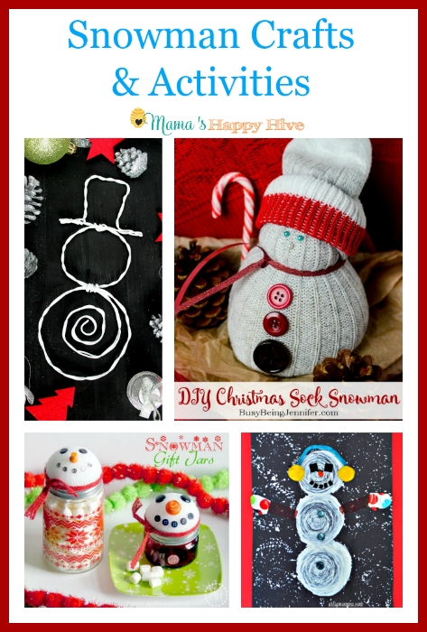 "Cute snowman crafts and activities to enjoy this holiday season! Also, ""A Little Bird Told Me"" Wednesday link party! - www.mamashappyhive.com"