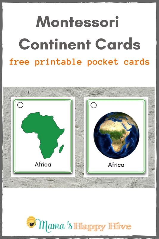 Montessori Continent Pocket Cards