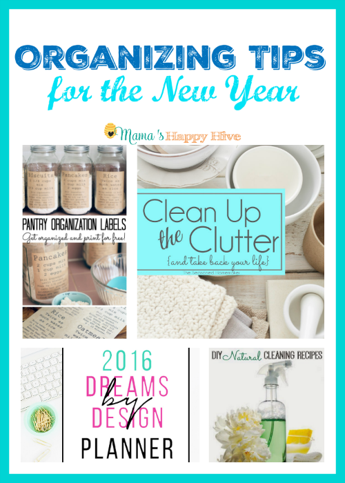 "Wonderful organizing tips for the new year to help clean up the clutter, organize the pantry, a planner, and DIY natural cleaning recipes. Plus, ""A Little Bird Told Me"" Wednesday link party. - www.mamashappyhive.com"