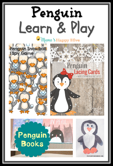 "The cold months of winter are the perfect time for penguin learn and play activities! Enjoy a penguin ""I spy"" game, lacing cards, books, and craft. - www.mamashappyhive.com"