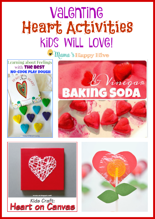 "A collection of adorable Valentine heart activities for kids! This includes play dough hearts, vinegar and baking soda hearts, heart stitched on canvas, and lolly pop heart flowers. Plus, ""A Little Bird Told Me"" Wednesday link party! - www.mamashappyhive.com"