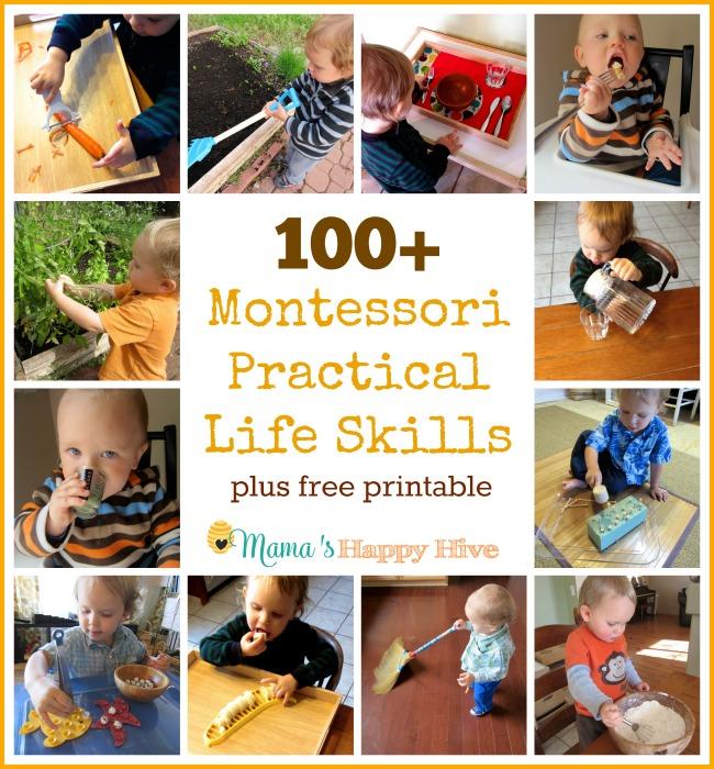 100 Montessori Practical Life Skills - www.mamashappyhive.com