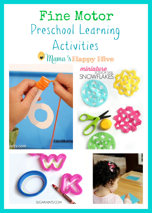 A wonderful collection of fine motor preschool learning activities that include yarn wrapped letters, paper snowflake cutting activity, handwriting with cookie cutters, and Montessori pin poking. - www.mamashappyhive.com