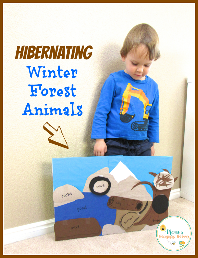 Have fun with this hibernating board with animals hidden under the following tabs - mud, burrow, log, cave, rocks, nest, and a hole in the tree. - www.mamashappyhive.com