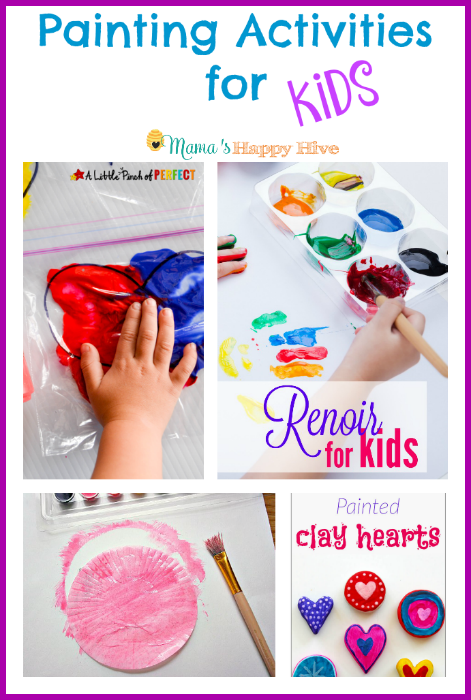 "A wonderful collection of painting activities for kids that include mixing sensory bags, Renoir for kids, paper watercolor flowers, and painted clay hearts. Also, ""A Little Bird Told Me"" Wednesday link party. - www.mamashappyhive.com"
