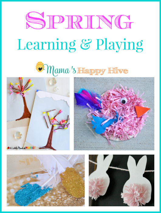 A beautiful collection of spring learning and playing crafts for children of all ages to enjoy. This collection includes budding trees with Q-tips, shredded paper CD birds, glitter feathers, and pom pom bunnies. - www.mamashappyhive.com