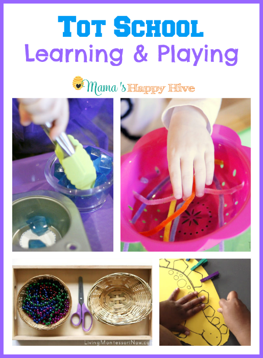These tot school learning and playing trays include winter activities, letter F activities, fine motor cutting skills with strings of beads, and dinosaur activities. - www.mamashappyhive.com