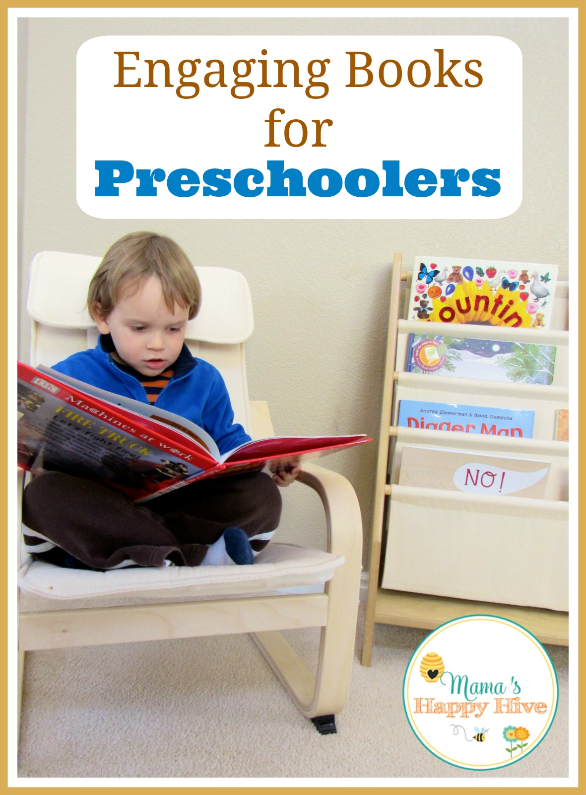 Step into our living room and discover what engaging books for preschoolers and Montessori language work we have on our book shelves. - www.mamashappyhive.com
