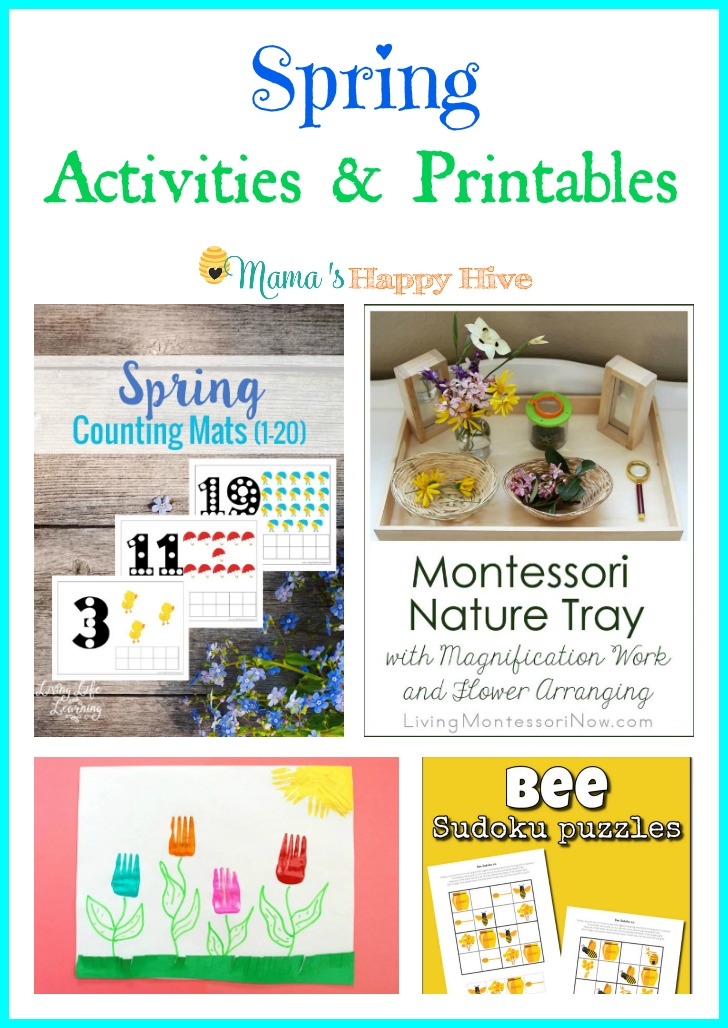 Enjoy a lovely collection of Spring Activities and Printables for children of all ages to enjoy! This collection includes spring counting mats printable, Montessori nature tray with flower arranging, painting tulips with a fork, and bee sudoku puzzle printables. - www.mamashappyhive.com