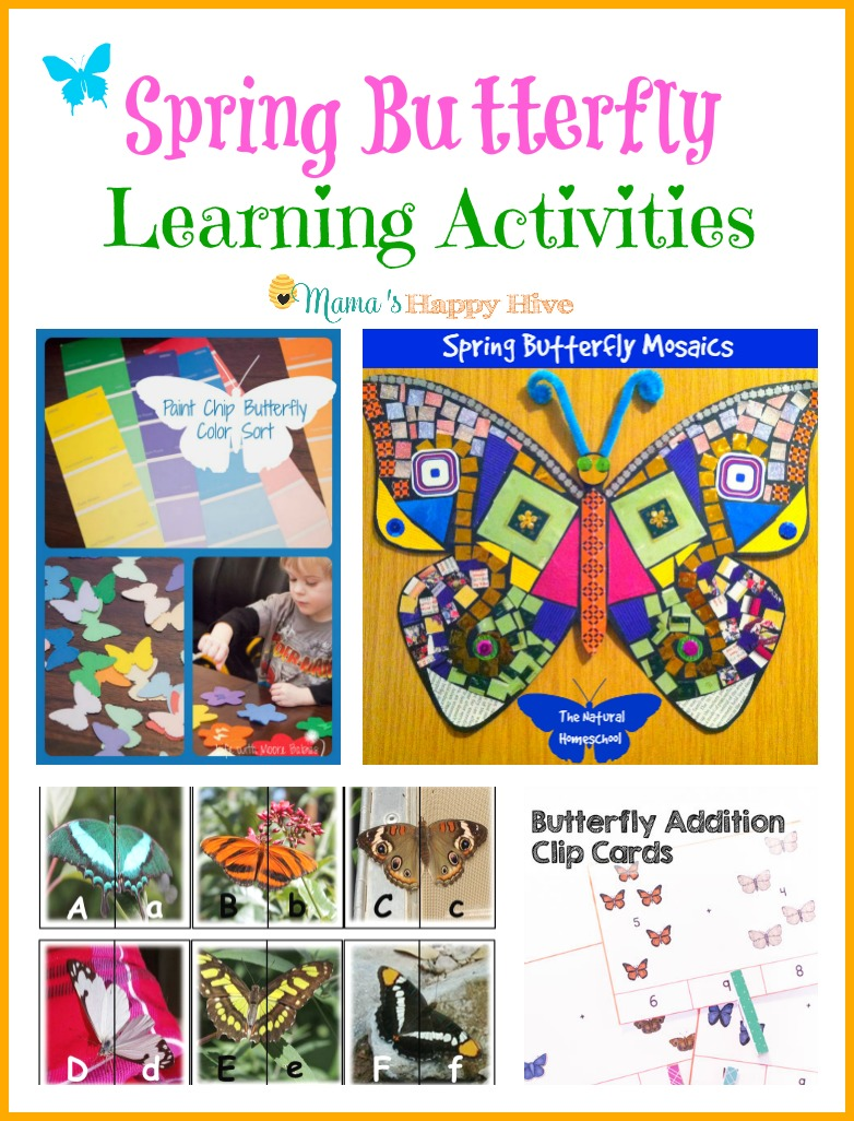 Please enjoy these beautiful spring butterfly learning activities! In this collection there is a fun paint chip butterfly color sorting activity, gorgeous spring butterfly mosaics, butterfly alphabet matching cards, and butterfly addition clip cards. - www.mamashappyhive.com
