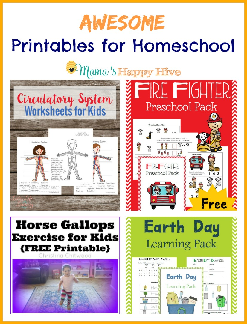 This collection includes four awesome printables for homeschool or classroom. Please enjoy these free circulatory system worksheets for kids, fire fighter preschool pack, horse gallop exercises for kids, and an earth day learning pack! - www.mamashappyhive.com