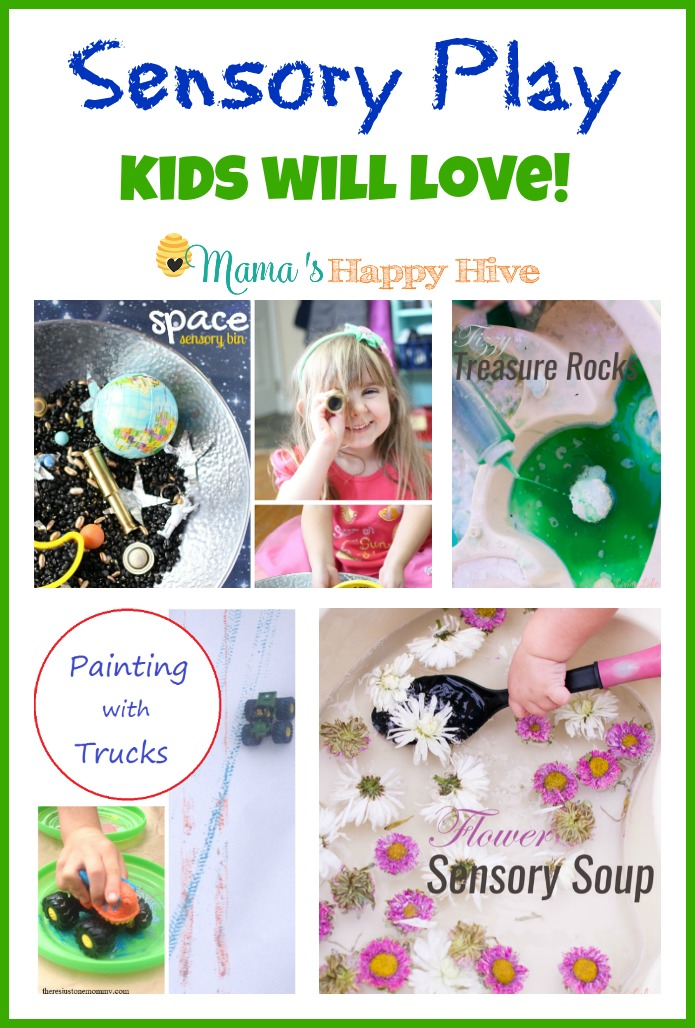 Young children love sensory play because they can experience learning with their hands. This collection of Sensory Play includes an outer space sensory bin, fizzy treasure rocks, painting with trucks, flower sensory soup, and 7 sensory bins to make at home or school. - www.mamashappyhive.com
