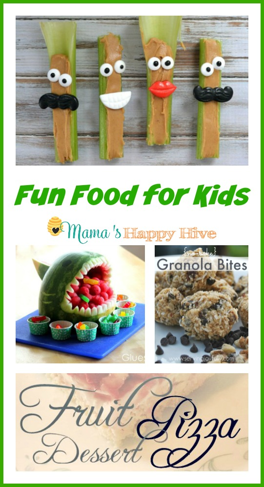 This fun food for kids collection includes adorable celery friends, a watermelon shark, no-bake granola bites, and fruit pizza! - www.mamashappyhive.com