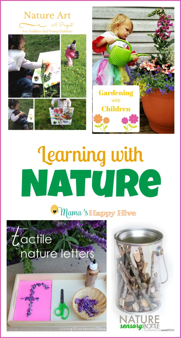 This collection of nature learning activities includes nature art (painting with flowers), gardening with children, Montessori inspired tactile nature letters, nature sensory bottles, bird unit study, and an impressive list of books about frogs. - www.mamashappyhive.com