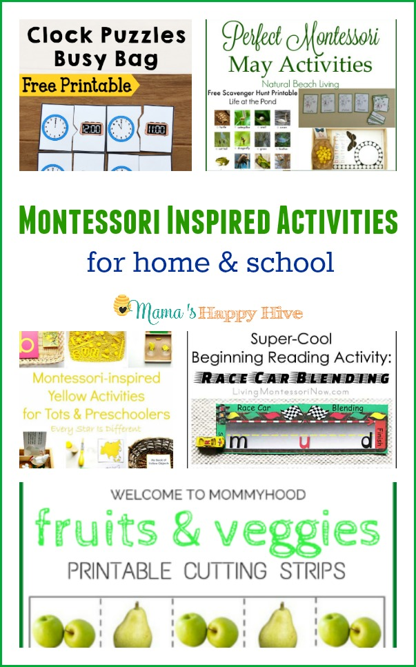 This is a lovely collection of Montessori inspired activities for homeschool and schoolroom use. Included in this collection are clock puzzles (free printable), perfect Montessori May activities, yellow activities for toddlers/preschoolers, beginning reading activities with race cars, and fruit printable cutting strips. - www.mamashappyhive.com