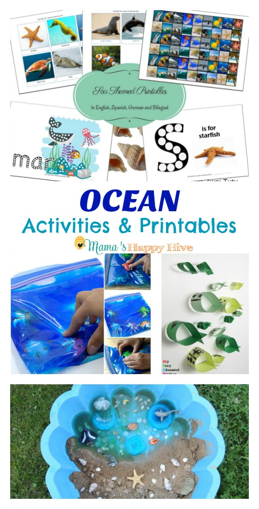 This collection includes ocean printables, tot trays, shark sensory bag, kid crafted fish mobile, a beach in the sandbox, whale sensory bin, shark printables, and ocean art for kids! - www.mamashappyhive.com