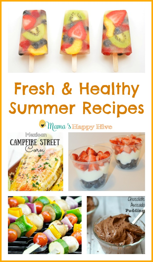 These fresh and healthy summer recipes look absolutely delicious! This collection includes fresh fruit popsicles, Mexican street corn, 4th of July fruit parfait, 52 summer recipes, and chocolate avocado pudding. Yum! - www.mamashappyhive.com