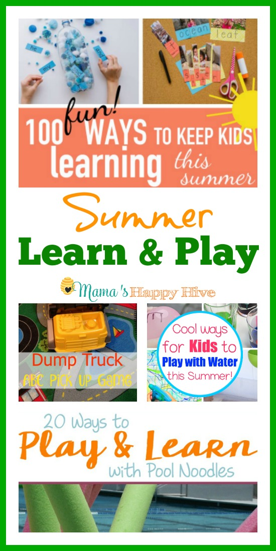 This summer learn and play collection of activities includes 100 fun ways to keep kids learning this summer, dump truck ABC pick up game, cool ways for kids to play with water, 20 ways to play and learn with pool noodles, and learning colors outside with toddlers! - www.mamashappyhive.com