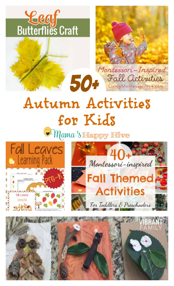 This is an amazing collection of 50+ autumn activities for kids! These activities include a natural leaf butterfly craft, a huge list of Montessori inspired fall activities, a pre-K fall leaves learning pack printable, a fun fall banner project, and a leaf unit study. Enjoy! - www.mamashappyhive.com