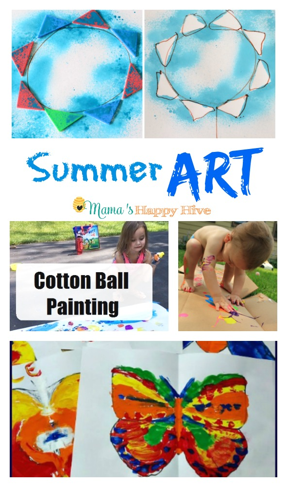 Included in this collection is painting with tangrams, outdoor cotton ball painting, summer art for toddlers, and symmetrical paintings for little kids. - www.mamashappyhive.com
