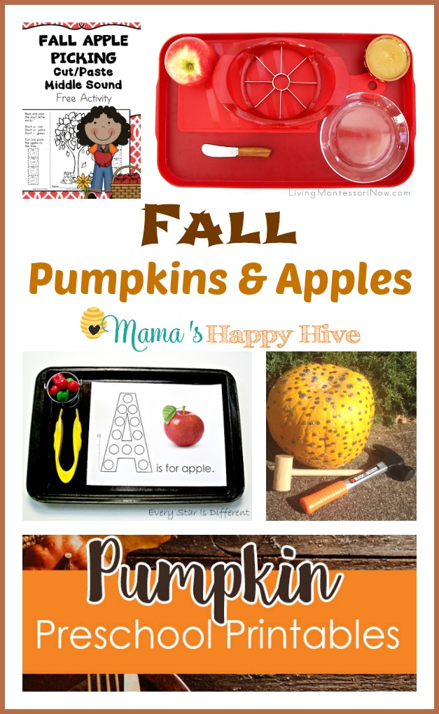 Please enjoy this collection of fall pumpkins and apples that include printables and Montessori practical life activities for kids. - www.mamashappyhive.com