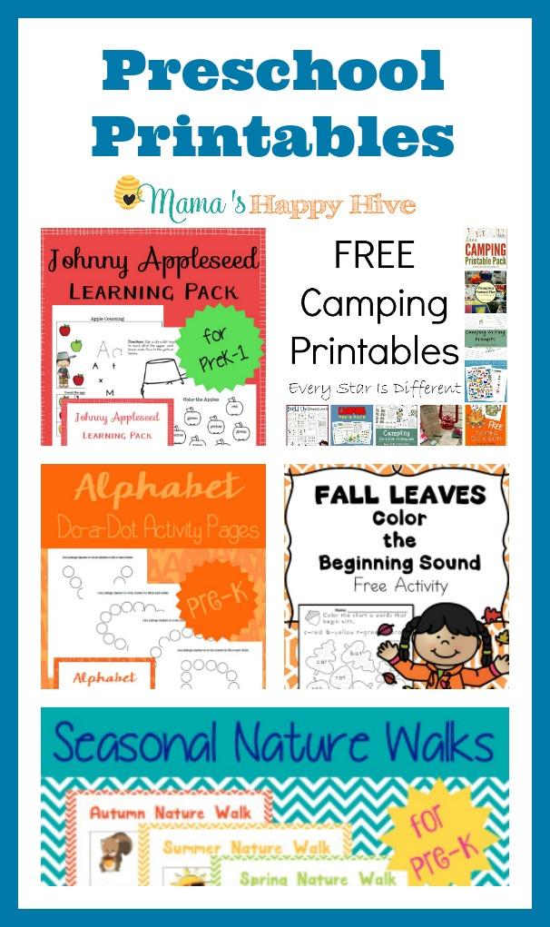 These preschool printables includes Johnny Appleseed, alphabet dot activity pages, nature walk with a fun scavenger hunt, camping, Grandparents Day cards, and beginning sounds fall leaves phonics printable. - www.mamashappyhive.com