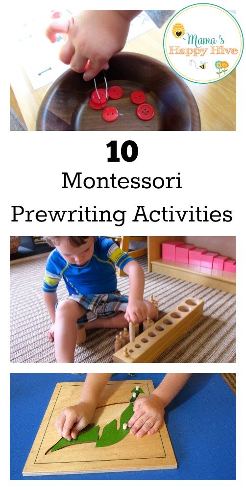 10 Montessori prewriting activities that will help to develop hand-eye coordination and pincer hand muscles for future writing tasks. - www.mamashappyhive.com