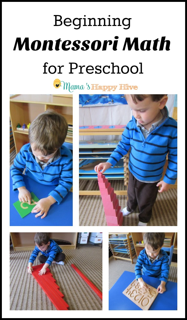 This post on beginning Montessori math for preschool includes 6 activities - pink tower, red rods, tracing number board, sandpaper numbers, sand tray, and puzzle. - www.mamashappyhive.com