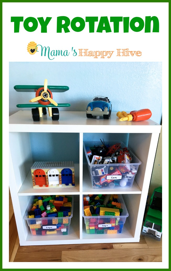 Implementing a toy rotation system can help calm a child by creating a sense of order and peace in the home. Shelves are wonderful for organizing toys. - www.mamashappyhive.com