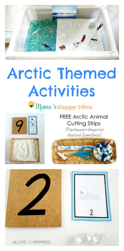 These Arctic themed activities for kids include Arctic sensory bin, mathematics, transfer work, writing practice, free printable writing strips, and a polar bear unit. - www.mamashappyhive.com