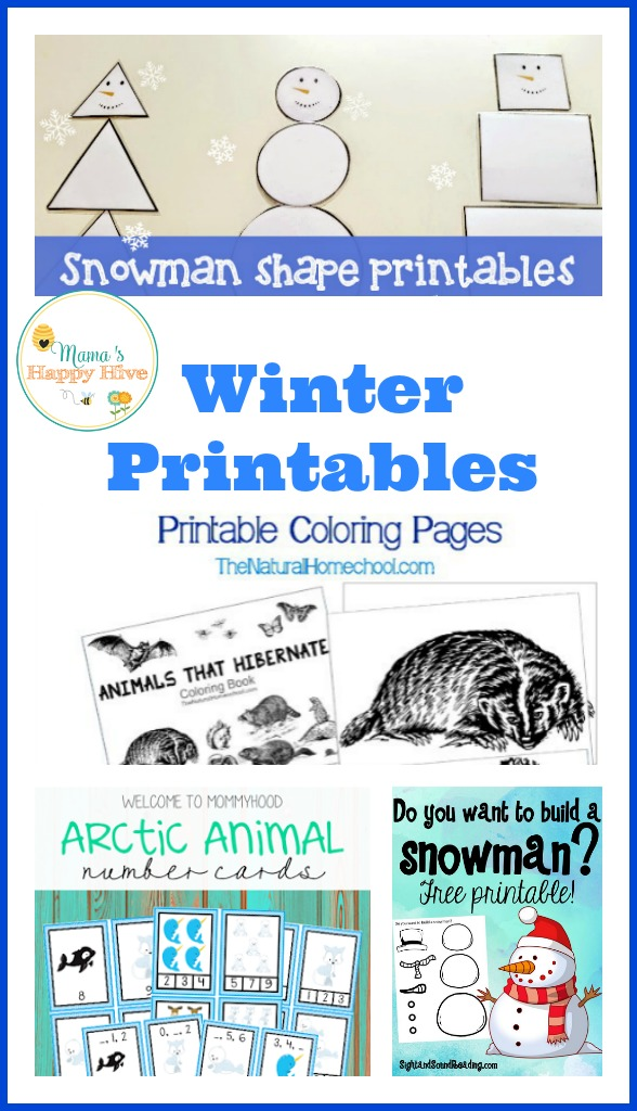 A wonderful list of winter printables for homeschool or the classroom that include snowmen, hibernating animals, and arctic number cards. - www.mamashappyhive.com