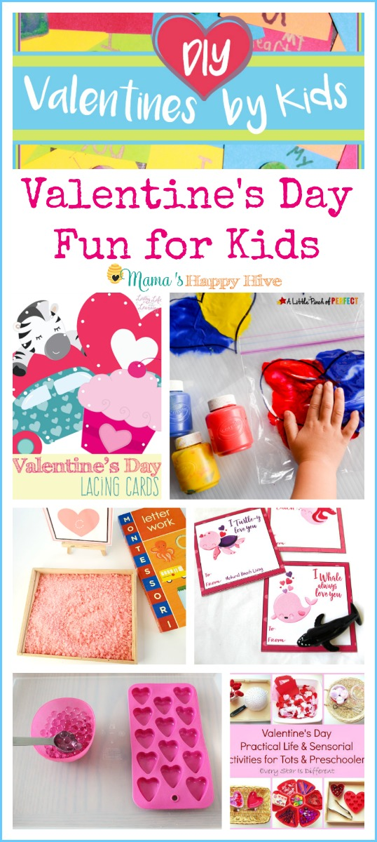 These activities include color mixing, heart lacing, Valentine crafts, counting mat, tot school trays, pink salt tray, and practical life. - www.mamashappyhive.com