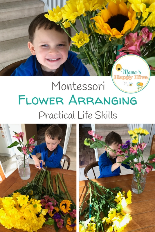 Young children LOVE practical life skills. They love working with their hands and creating. Here's a great lesson on Montessori flower arranging. - www.mamashappyhive.com