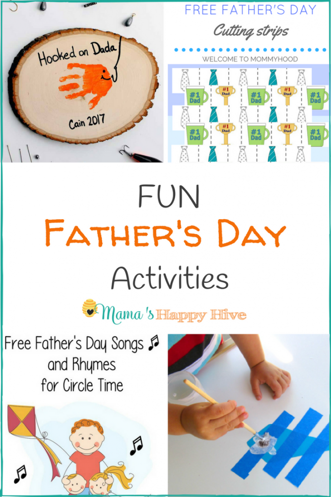 These fun Father's Day activities include a cute handprint craft, necktie cutting strips, songs and rhymes for circle time, salt dough picture frames, writing prompts, and handmade Father's Day cards. - www.mamashappyhive.com