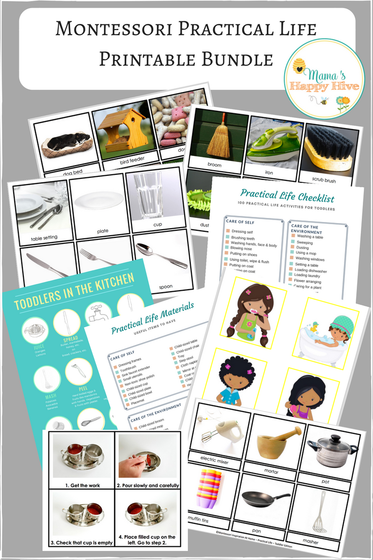 A Montessori practical life for toddlers eBook that includes easy to follow ideas, plus 60+ pages of printables and resources, including Spanish printables! - www.mamashappyhive.com