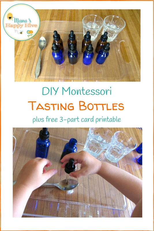 This DIY Montessori tasting bottles tutorial and tasting activities are wonderfully fun for exploring the gustatory sense. Also, included are 3-part cards to help develop vocabulary. - www.mamashappyhive.com