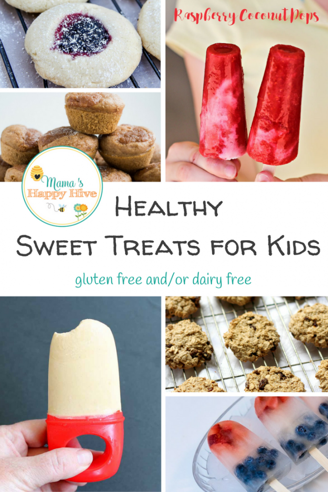 Healthy Sweet Treats for Kids - thumbprint cookies, raspberry coconut pops, pancake muffins, peanut butter yogurt pops, oatmeal cookies, and patriotic pops.