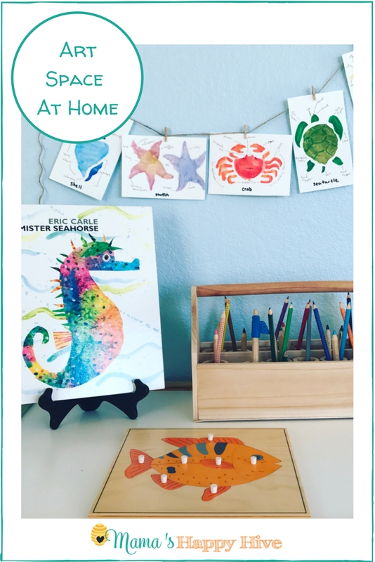 Step into our Montessori Art Space at Home! We will share our favorite art supply materials list and several ways we enjoy art in our home. - www.mamashappyhive.com