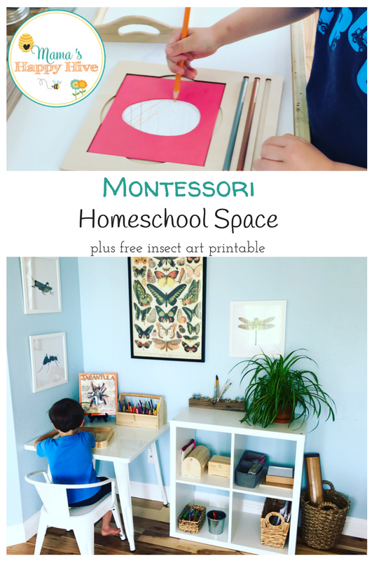 montessori inspired homeschool space with a free insect art printable. Black Bedroom Furniture Sets. Home Design Ideas