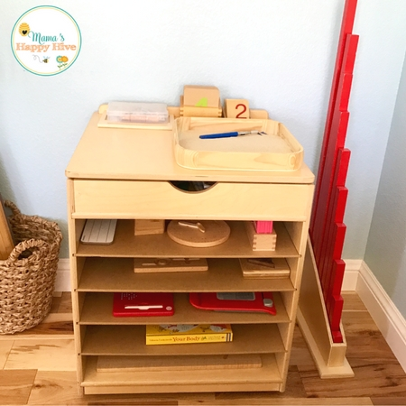 Great tips for setting up a beautiful Montessori inspired homeschool space that includes a preschool supply list. Also, a free insect art printable!