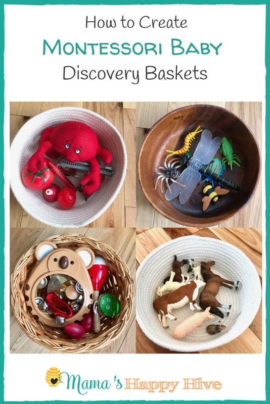 Four ideas for how to create Montessori baby discovery baskets that include colors, insects, animals (matching printable), & child-safe musical instruments. - www.mamashappyhive.com