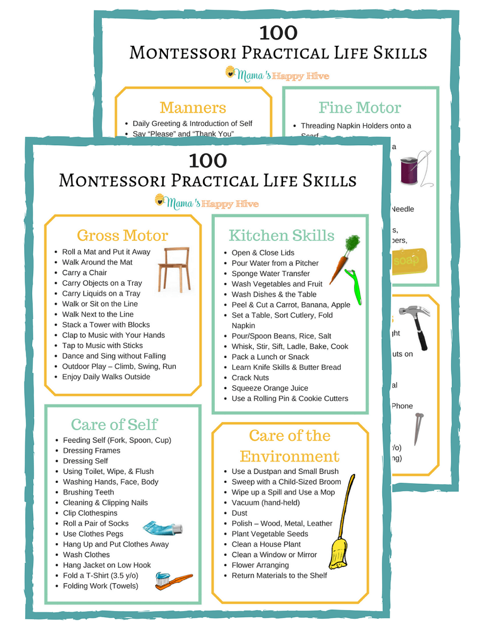 100 Montessori Practical Life Skills List