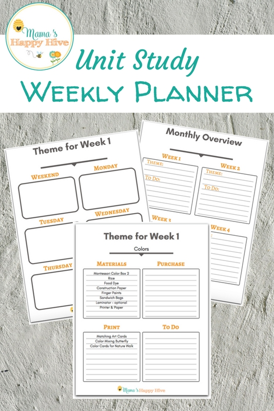 Homeschool Unit Study Weekly Planner