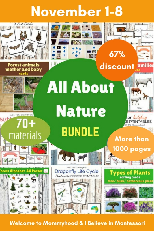 """All about nature bundle"" is a 1,000+ page collection of educational printables for teaching children about the natural world. Don't miss this opportunity! - www.mamashappyhive.com"