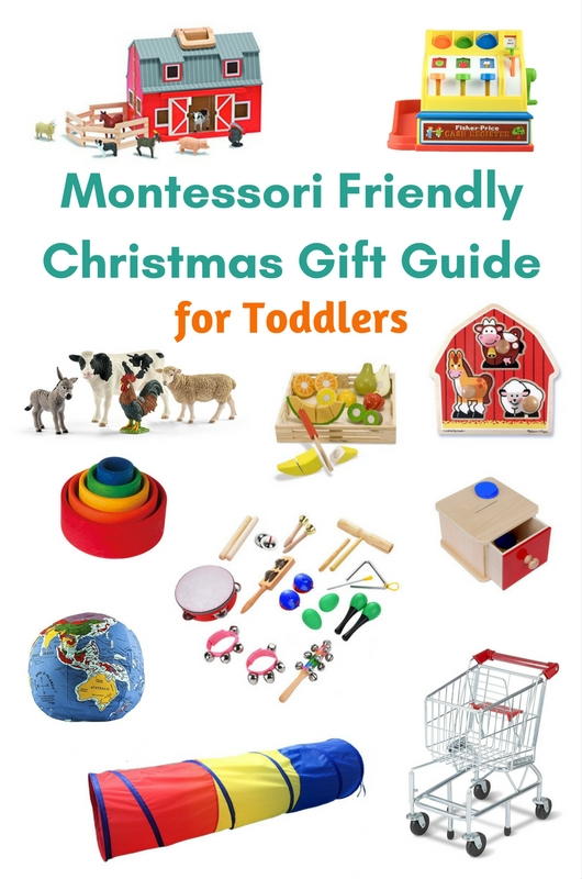 This Montessori friendly Christmas gift guide includes gifts that are gender neutral, categorized by development, and includes ages from infant to 5 years. #montessori #christmas #giftguide #handsonlearning www.mamashappyhive.com