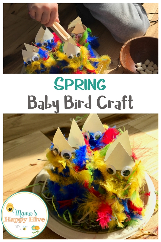This spring baby bird craft includes sensory play, fine-motor skill development, and artistic expression. Plus, a backyard bird life-cycle printable pack. - www.mamashappyhive.com