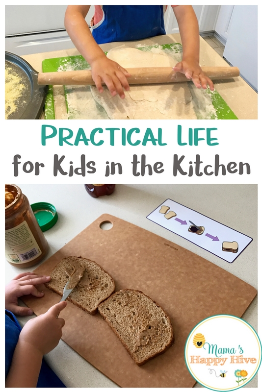 Practical life for kids in the kitchen begins with allowing the child to participate in the functions/work of the home and preparing the environment. - www.mamashappyhive.com