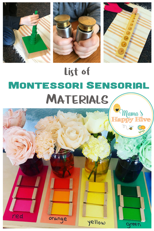 If you are new to Montessori and are wanting to incorporate Montessori materials into your homeschool environment, this list will be helpful. This list of Montessori Sensorial Materials is for ages 2.5 to 6.5 years old. - www.mamashappyhive.com