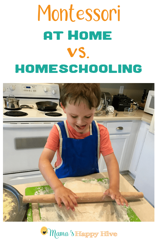 Montessori at home vs. homeschooling is different. These two are also different than the Montessori classroom. Let me explain... www.mamashappyhive.com